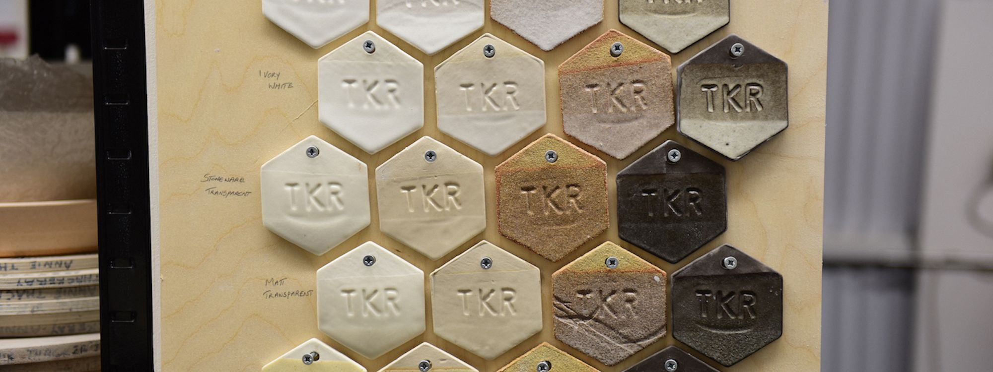 Test tiles at The Kiln Rooms. Photo courtesy The Kiln Rooms, London